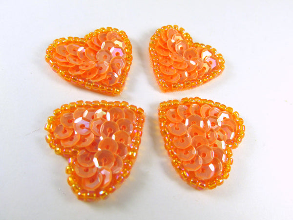 Coral Orange Sequined and Beaded Small Heart Appliques (4)-Appliques-Default Title-Odyssey Cache