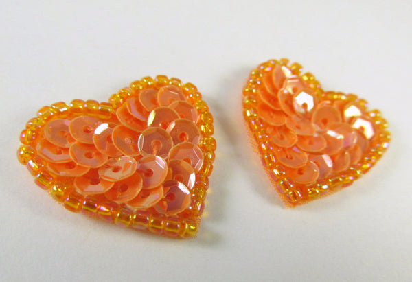 Coral Orange Sequined and Beaded Small Heart Appliques (4)-Appliques-Odyssey Cache