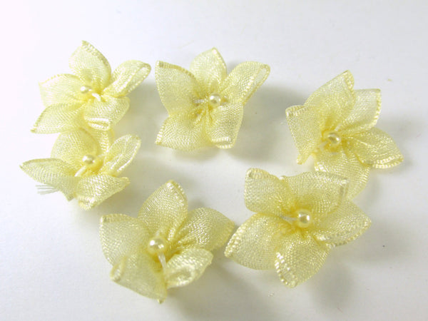 Organza 15mm Daisy Flower Appliques with White Pearl Centers in 5 colors-Appliques-Yellow-Odyssey Cache