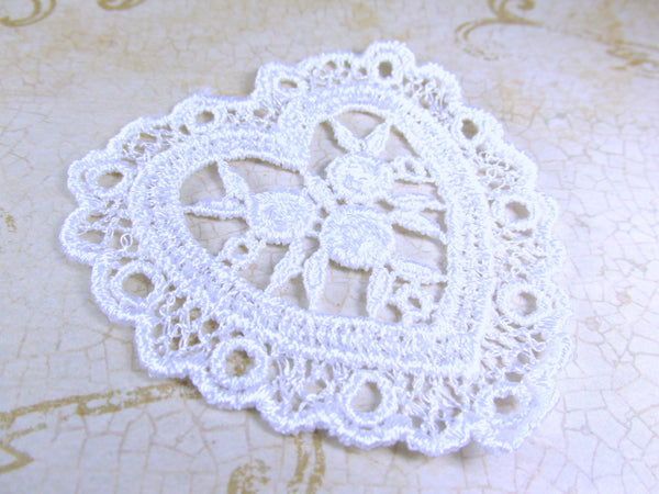 Pair of Ivory or White Large nearly 3 Inch Venise Lace Heart Appliques-Appliques-White-Odyssey Cache