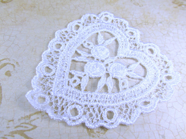 Ivory or White Large nearly 3 Inch Venise Lace Heart Appliques-Appliques-Ivory-Odyssey Cache