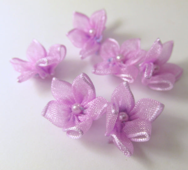Organza 15mm Daisy Flower Appliques with White Pearl Centers in 5 colors-Appliques-Lavender-Odyssey Cache