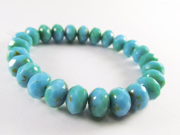 Light Aqua Green Turquoise Czech Glass 8mm x 6mm Faceted Rondelles-Czech Glass-25 beads (best deal)-Odyssey Cache