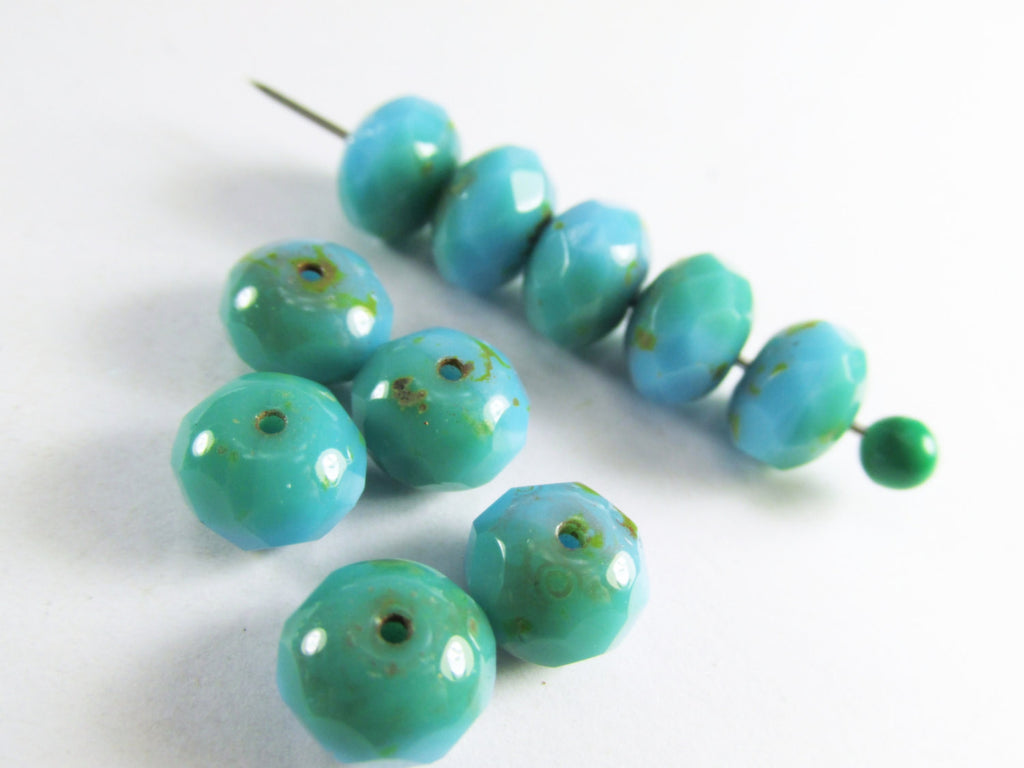 Light Aqua Green Turquoise Czech Glass 8mm x 6mm Faceted Rondelles - Odyssey Cache