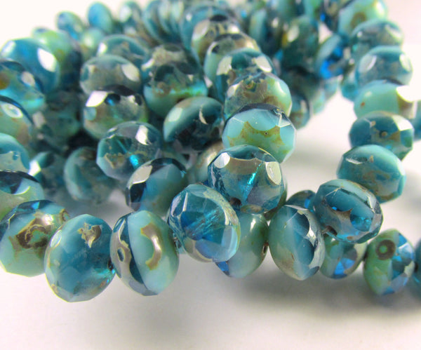 Capri Blue Aqua Turquoise Czech 8mm x 6mm Faceted Rondelles (10)-Jewelry Beads-Odyssey Cache