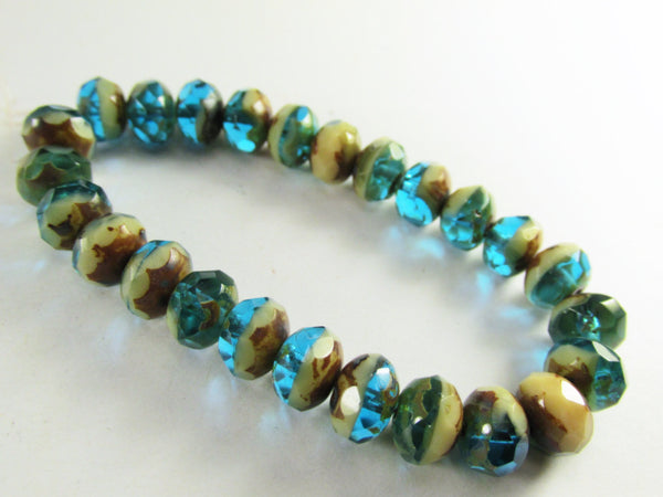 Blue Green Turquoise, Beige and Brown Picasso Czech 8mm x 6mm Rondelles-Jewelry Beads-25 beads (full strand)-Odyssey Cache