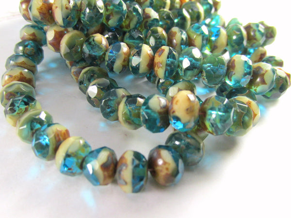 Blue Green Turquoise, Beige and Brown Picasso Czech 8mm x 6mm Rondelles (10 beads)-Jewelry Beads-Odyssey Cache
