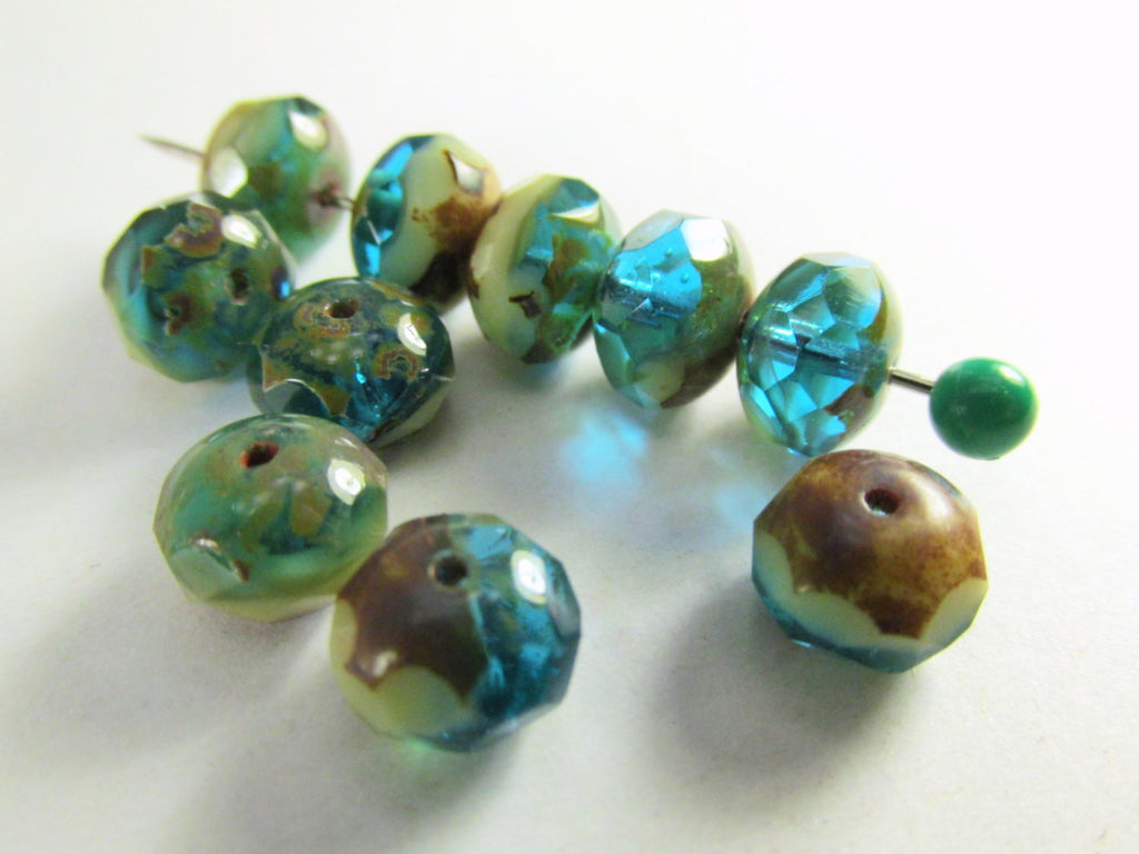 Blue Green Turquoise, Beige and Brown Picasso Czech 8mm x 6mm Rondelles-Jewelry Beads-10 beads-Odyssey Cache