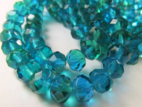 Aquamarine Turquoise Czech Glass 8mm x 6mm Faceted Rondelles (10) - Odyssey Cache