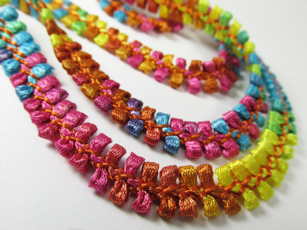 Multicolored 1/2 inch Narrow Braided Gimp Trim - Odyssey Cache - 3