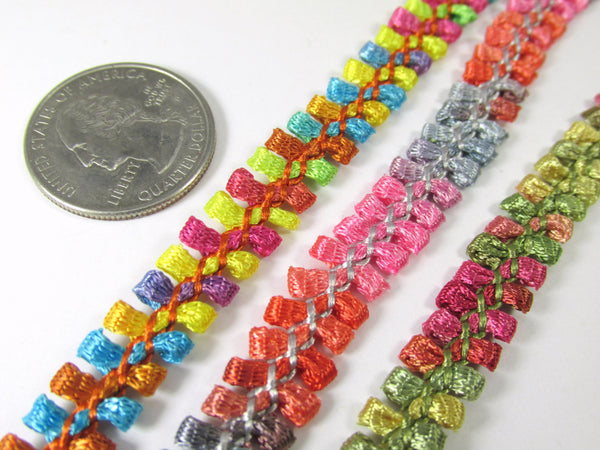 Multicolored 1/2 inch Narrow Braided Gimp Trim - Odyssey Cache - 1