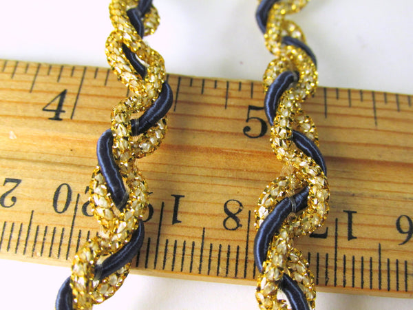 SALE - Navy Blue and Metallic Gold 1/4 inch Braided Gimp Trim - Odyssey Cache