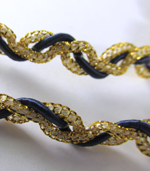 SALE - Navy Blue and Metallic Gold 1/4 inch Braided Gimp Trim-Trims-Default Title-Odyssey Cache
