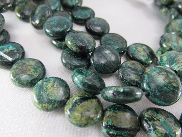 Teal Green Fuschite Mica 11mm Round Coin Beads (13) - Odyssey Cache