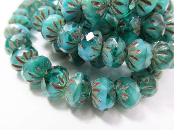 Opaque Teal Turquoise Czech 9mm x 6mm Carved Crullers-Czech Glass-25 beads-Odyssey Cache
