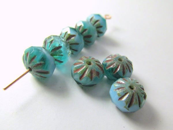 Opaque Teal Turquoise Czech 9mm x 6mm Czech Glass Carved Cruller Beads (10)-Czech Glass-Odyssey Cache