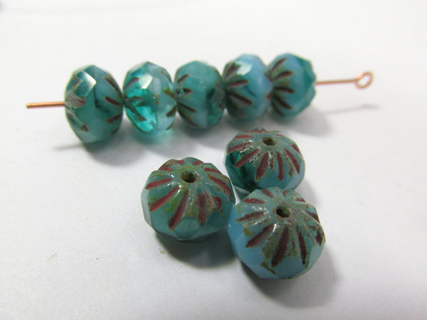 Opaque Teal Turquoise Czech 9mm x 6mm Czech Glass Carved Cruller Beads (10) - Odyssey Cache