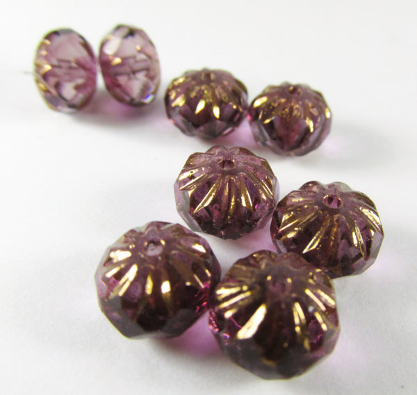 Purple Amethyst Czech 9mm x 6mm Carved Crullers (10)-Czech Glass-10 beads-Odyssey Cache