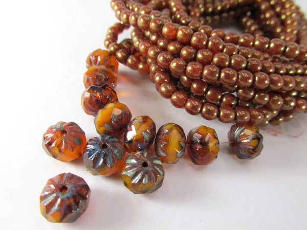 Orange Ochre Metallic Gold Luster 4mm Round Druks (50) - Odyssey Cache