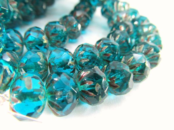 Turquoise Picasso Czech 9mm x 6mm Carved Crullers-Czech Glass-25 beads-Odyssey Cache