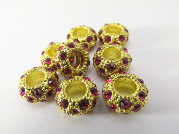 Large Hole Gold Crystal Pave 12mm x 8mm Rondelle Metal Jewelry Beads-Jewelry Beads-Rose Pink-Odyssey Cache