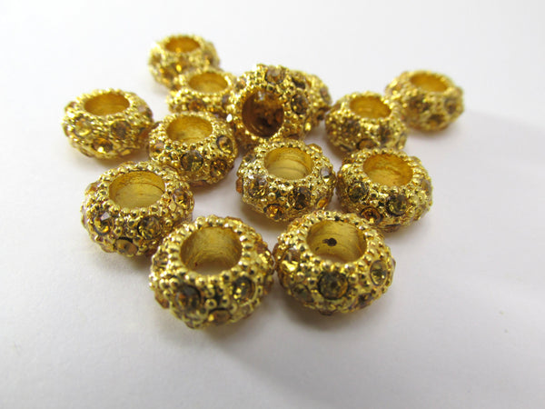 Large Hole Gold Crystal Pave 12mm x 8mm Rondelle Metal Jewelry Beads-Jewelry Beads-Light Topaz-Odyssey Cache
