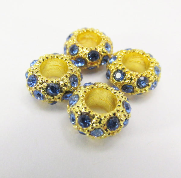 Large Hole Gold Crystal Pave 12mm x 8mm Rondelle Metal Jewelry Beads-Jewelry Beads-Sapphire Blue-Odyssey Cache