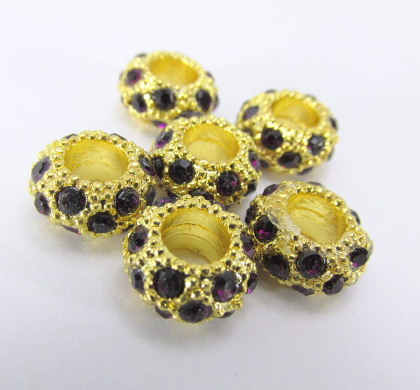 Large Hole Gold Crystal Pave 12mm x 8mm Rondelle Metal Jewelry Beads-Jewelry Beads-Amethyst Purple-Odyssey Cache
