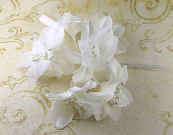 White Satin Tulle and Pearl Millinery 2 Inch Craft Flowers (6) - Odyssey Cache