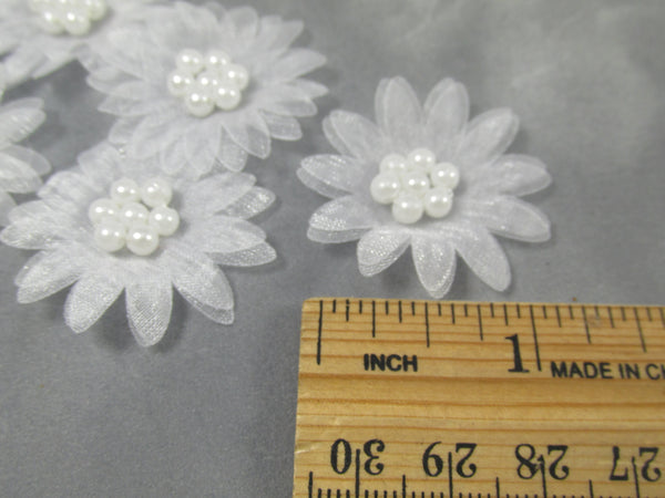White 1.25 inch Organza and Pearl Daisy Craft Flowers or Appliques - Odyssey Cache