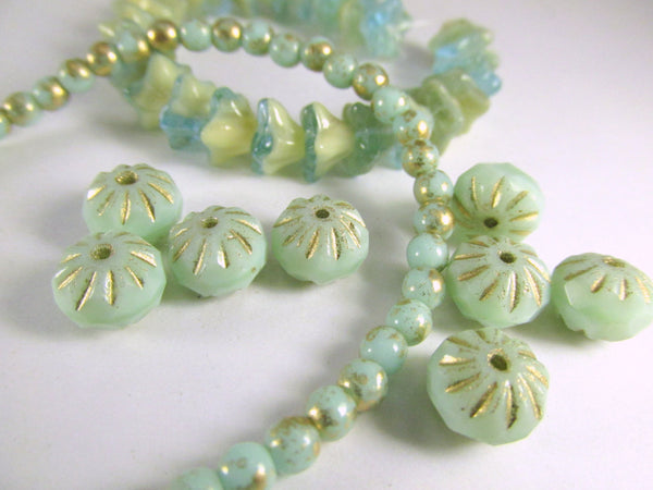 Aqua Mint Green Gold Picasso Czech 4mm round druks (50)-Jewelry Beads-Odyssey Cache