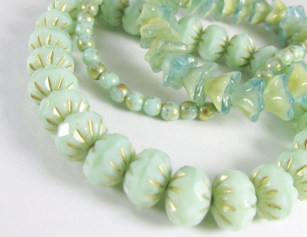 Aqua Mint Green Czech 9mm x 6mm Carved Crullers - Odyssey Cache - 2