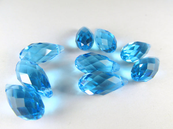 Aquamarine Blue Turquoise16mm x 8mm Briolettes (6)-Jewelry Beads-Odyssey Cache