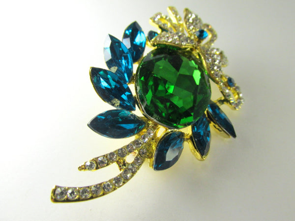 Blue Turquoise, Green, Crystal Clear and Gold Brooch-Brooch-Odyssey Cache