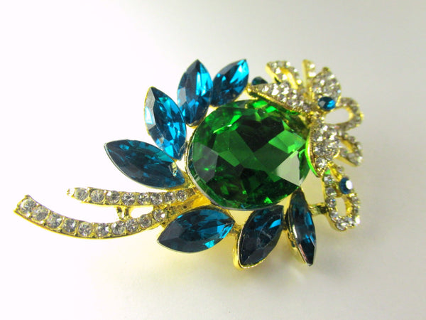 Blue Turquoise, Green, Crystal Clear and Gold Brooch - Odyssey Cache