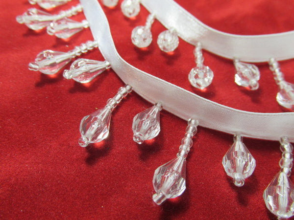 Crystal Clear Alternating Short Beaded Fringe Trim - Odyssey Cache