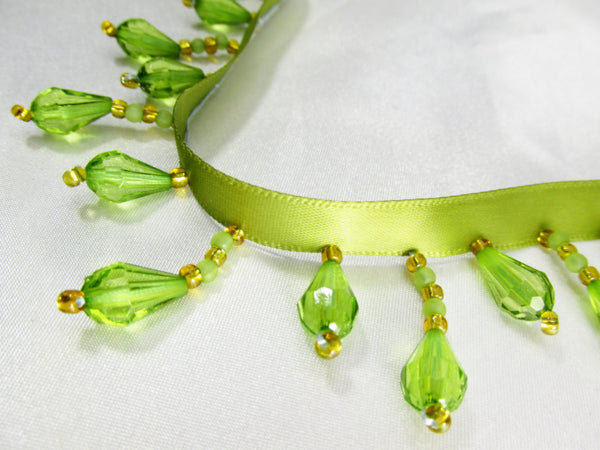 Peridot Olive Green and Gold Short Beaded Fringe Trim - Odyssey Cache