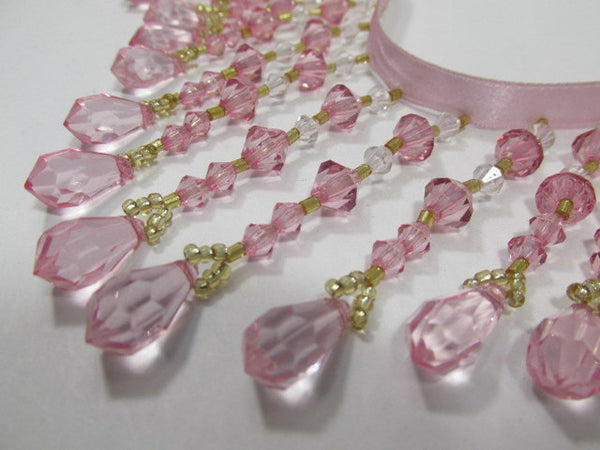 Pale Pink Rose, Clear and Gold 3 inch Medium Beaded Fringe Trim-Beaded Fringe-1/2 Yard-Odyssey Cache