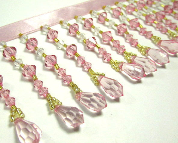 Pale Pink Rose, Clear and Gold 3 inch Medium Beaded Fringe Trim-Beaded Fringe-Yard-Odyssey Cache