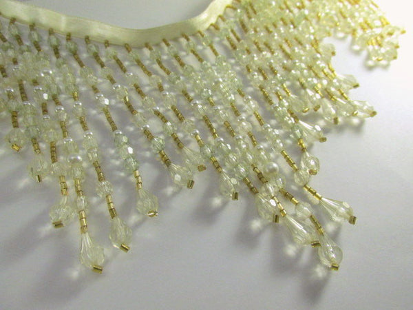 Ivory, Mint Green and Gold 5.5 Inch Long Beaded Fringe-Beaded Fringe-Odyssey Cache