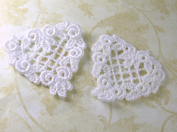 White or Ivory Small 40mm 1.5 inch Venise Lace Heart Applique-Appliques-Ivory-Odyssey Cache