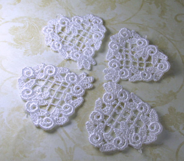 White or Ivory Small 40mm 1.5 inch Venise Lace Heart Applique - Odyssey Cache