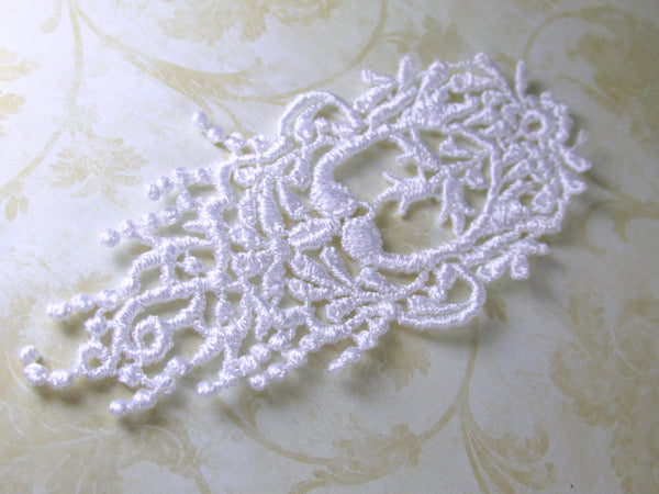 2 White Venise Lace Teardrop Shaped Fringed Applique 4.25 inches long for Wedding or Bridal Trim Decor - Odyssey Cache