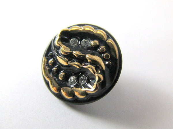 Black and Gold Swirl Design Czech Glass 8mm Button With Crystals-Buttons-Odyssey Cache