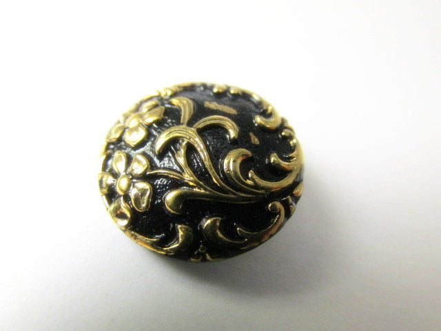 Black and Antique Gold Floral Czech Glass 18mm Button-Buttons-Odyssey Cache