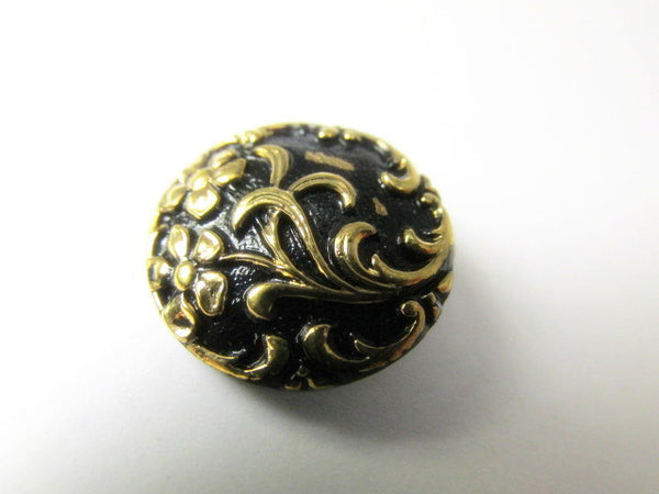 Black and Antique Gold Floral Czech Glass 18mm Button-Buttons-Default Title-Odyssey Cache