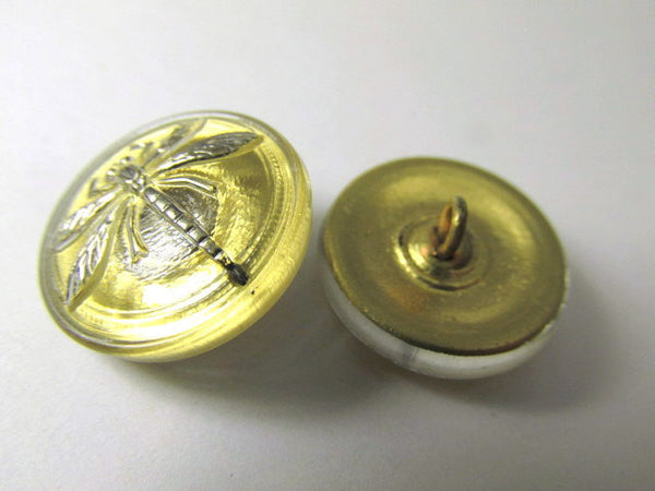 Antique Gold and Silver Dragonfly 18mm Czech Glass Button-Jewelry Beads-Odyssey Cache