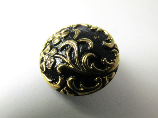 Black and Antique Gold Floral Czech Glass 18mm Button - Odyssey Cache