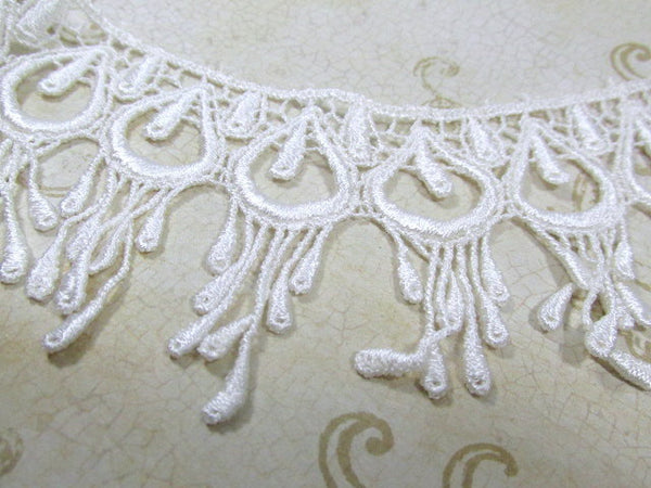 Ivory Peacock 3 Inch Fringed Venice Lace Trim-Trims-Default Title-Odyssey Cache