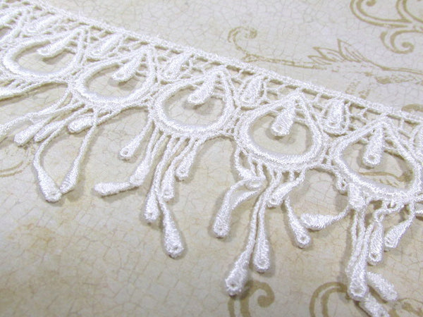 Ivory Peacock 3 Inch Fringed Venice Lace Trim-Trims-Odyssey Cache
